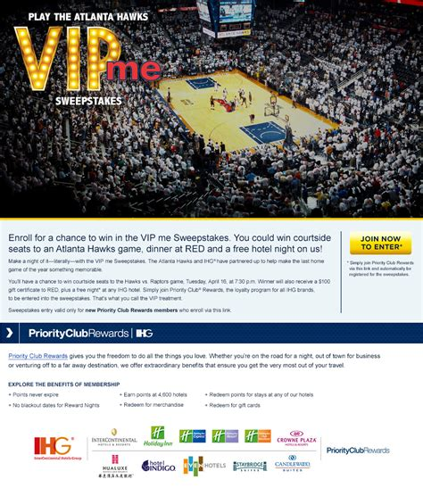 Ihg Sweepstakes - ihg vip me sweepstakes the official site of the atlanta hawks