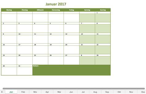 Vordruck Kalender 2017 Monatskalender 2017 Als Excelvorlage Excel Vorlagen F 252 R