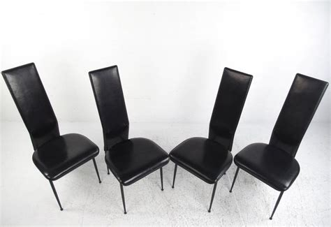 set of contemporary modern italian leather dining chairs