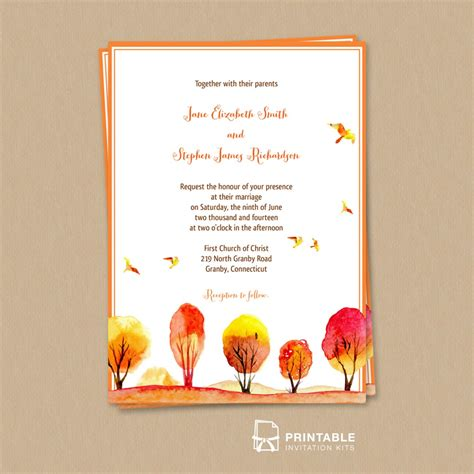 printable invitation kits watercolor autumn fall scene wedding invitation wedding