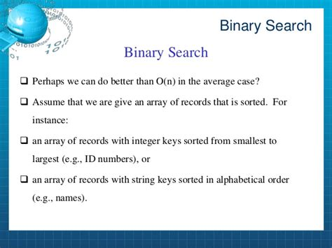 Average Binary Search Sort And Binary Search