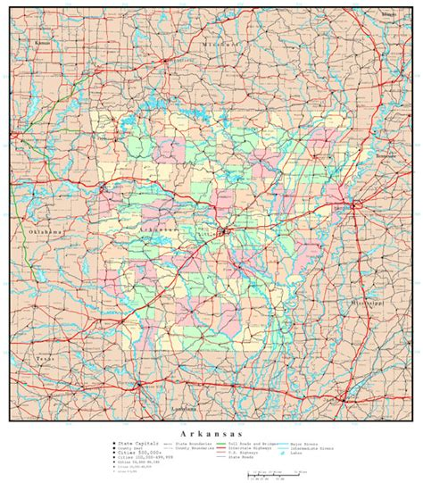 road map arkansas usa large detailed administrative map of arkansas state with