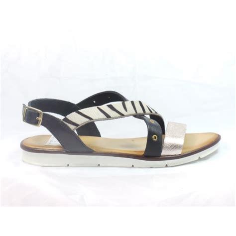 zebra print sandals lotus black leather and zebra print flat sandal lotus