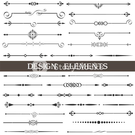 ornament design elements vector set vector set of calligraphic design elements and page decor