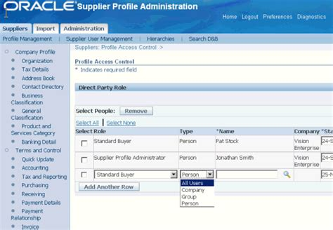 distributor profile template oracle supplier management implementation and