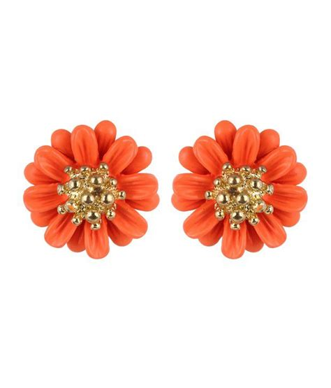 flower design earrings online fayon orange flower design earrings buy fayon orange