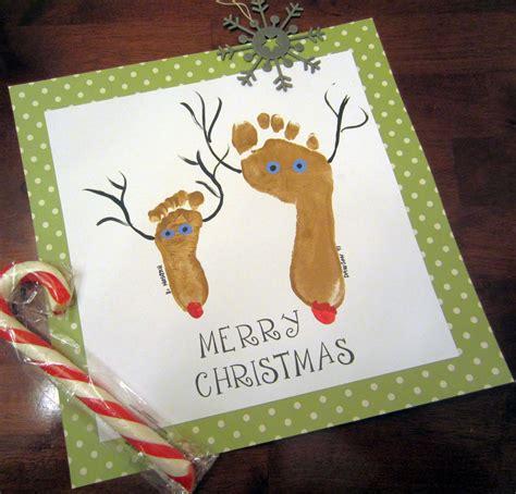diy christmas card ideas baby gizmo frugal christmas craft idea footprint reindeer