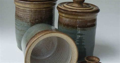 set of three brown ceramic canisters kitchen by mycrochetkitchen pottery canister set made to order kitchen set of 3 jars