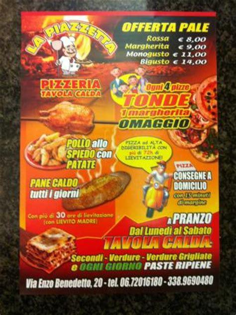 menu per tavola calda il volantino foto di la piazzetta pizzeria tavola calda