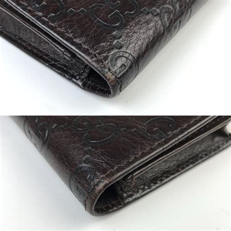 Gucci Card Holder Gg Brown Original Gucci Card gucci gg logo embossed brown leather bi fold wallet credit