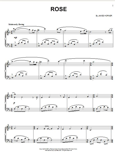 theme rose titanic rose from titanic sheet music by james horner piano