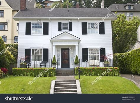 classic american house classic american wooden clapboard house stock photo