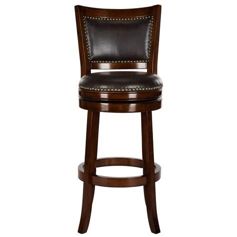 cushioned bar stool safavieh lazzaro 29 in espresso swivel cushioned bar stool fox7012b the home depot