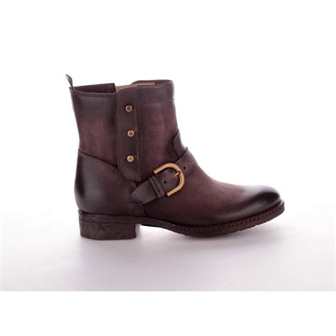 mjus italian brown leather ankle boots with buckle