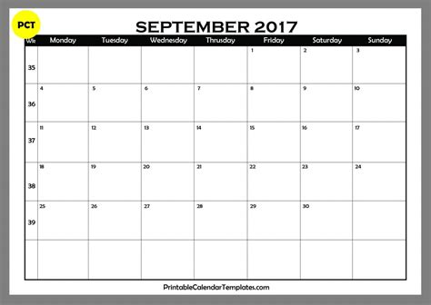 september calendar template september 2017 calendar printable printable calendar