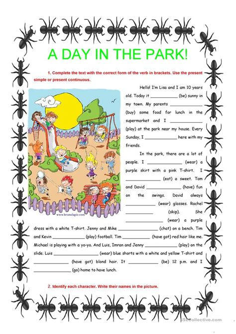 s day in the park a day in the park present simple continuous worksheet