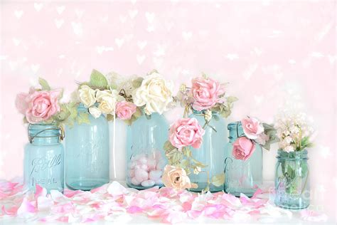 Shower Curtain Aqua by Dreamy Shabby Chic Pink White Roses Vintage Aqua Teal