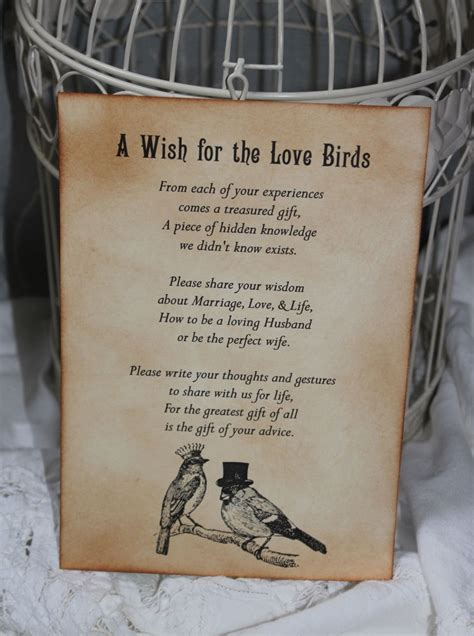 Wedding Wishes Poem by Birds Wedding Wish Poem Birdcage Vintage Style Unique