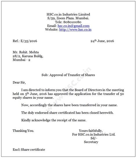 application letter format hsc board letter approval of transfer of shares to transferee