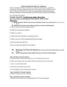 earthworm dissection pre lab worksheet earthworm worksheet answers switchconf