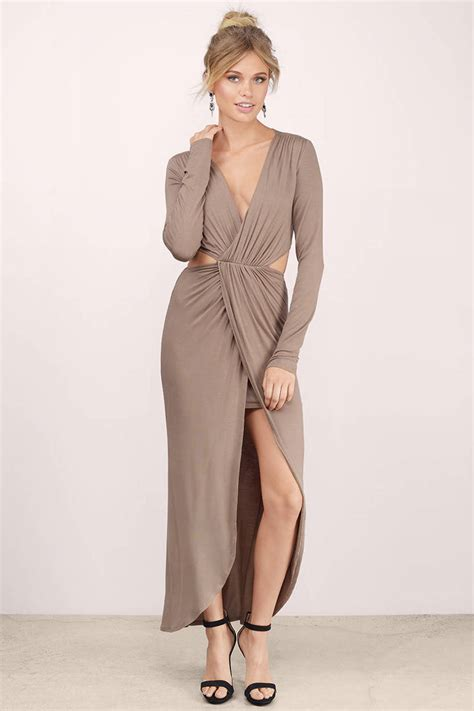 taupe color dress taupe maxi dress taupe dress v neck dress 92 tobi us