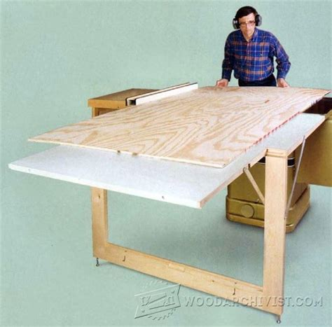 table saw woodworking plans table saw outfeed table plans woodarchivist