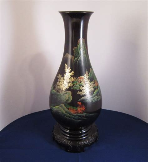 japanese black lacquer japanese lacquerware tall black lacquer vase 1970 s