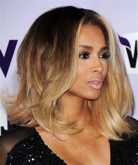 porsha williams blonde highlights ciara medium straight formal hairstyle medium brunette