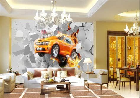 Charmant Papier Peint Chambre Garcon #7: 3D%20voiture%20orange_%20pers2.jpg