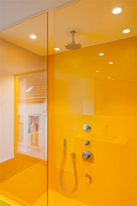 bright yellow bathroom an existing home modern addition become one shower