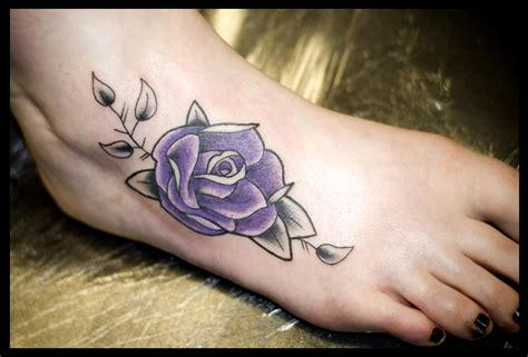 rose on foot tattoo foot tippingtattoo