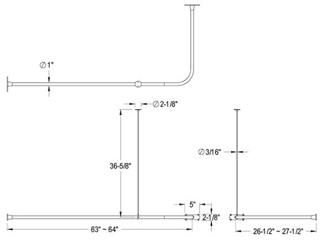 standard curtain rod sizes standard shower rod size image bathroom 2017