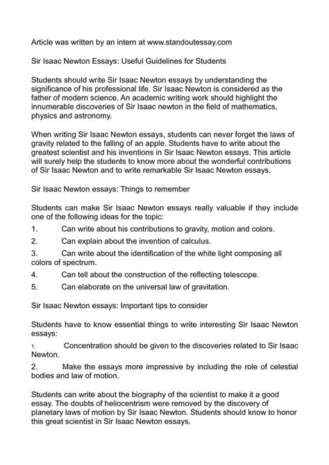 essay biography isaac newton calam 233 o sir isaac newton essays useful guidelines for