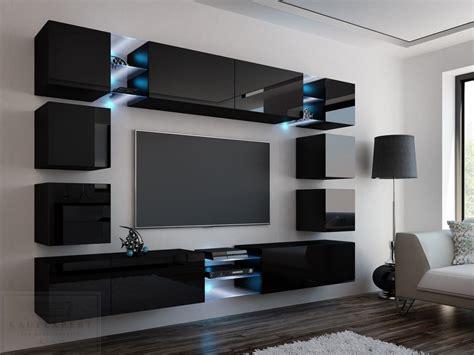 wohnzimmerwand design kaufexpert wohnwand edge schwarz hochglanz mediawand