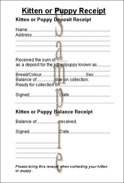 Puppy Receipt Template Uk by Free Printable Puppy Contract Nanopics Pictures