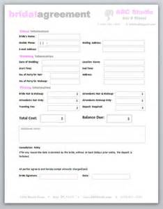 Editable Contract Template by Freelance Hair Stylist Makeup Artist Bridal Agreement