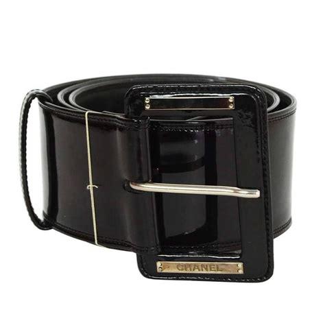 chanel black patent wide belt sz 85 for sale at 1stdibs