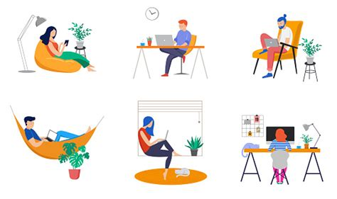 working  home coworking space concept illustration young