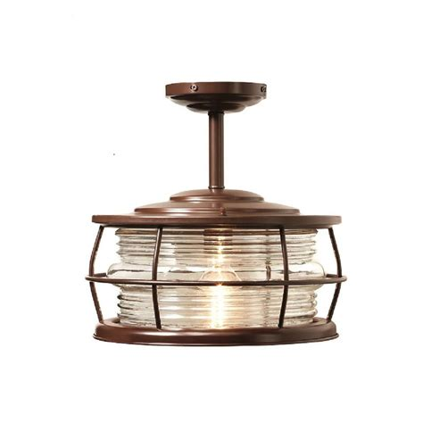 Patio Lights Home Depot Home Decorators Collection Harbor 1 Light Copper Outdoor Hanging Convertible Semi Flush Mount