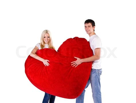 golden couple have big hearts loving couple with a big heart on white background stock