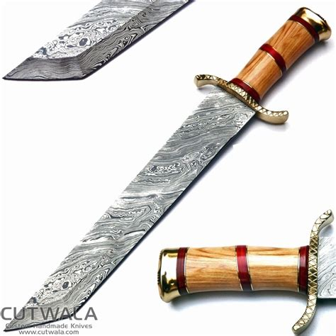 pattern knife handle cutwala heavy duty hunting machete blade damascus steel
