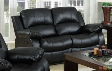 Kaden Black Bonded Leather Reclining Sofa And Loveseat Set Black Leather Recliner Sofa Set