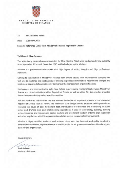 Finance Minister Letter reference letter from ministry of finance