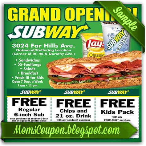printable subway coupons more ways to get coupons for subway free printable
