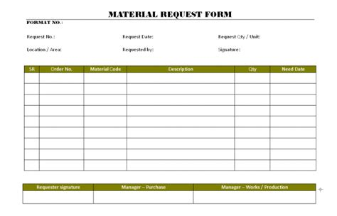 material requisition form template material requisition note