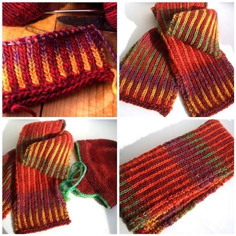 knit 1 below needles knit one below or inside outside scarf