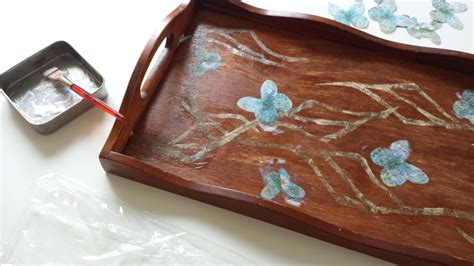 Decoupage Wooden Tray - decoupage on a wooden tray diy