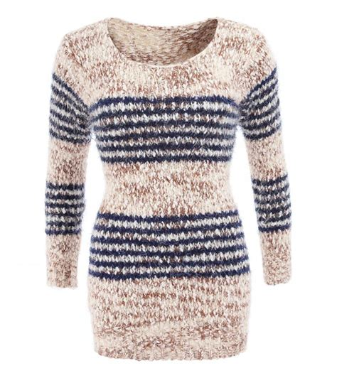 navy chunky knit jumper just blue beige and navy striped chunky knit jumper