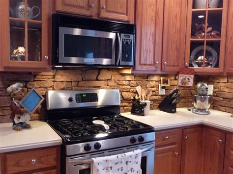 Rock Kitchen Backsplash Kitchens Faux Panels Faux Backsplash Ideas Decorating Ideas Kitchen Backsplash