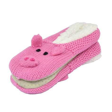 fluffy animal slippers cosy toes pink pig soft fluffy animal slippers